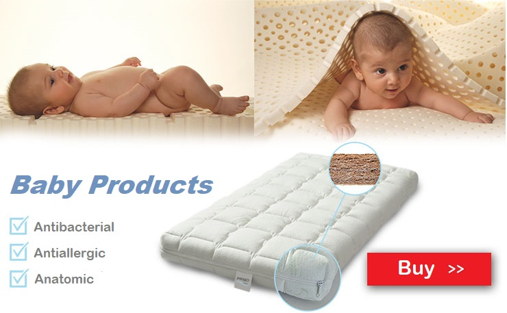 Baby mattress made of 100% latex with coconut and baby pillow